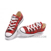 Red Plaid CONVERSE All Star Scotland Tops Canvas Shoes Lastest Ps3DP