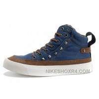 CONVERSE By John Varvatos 1908 Chuck Taylor Studded Collar All Star Rivet Blue High Tops Canvas Shoes Hot Now JAAXB