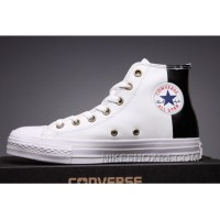 CONVERSE White Leather Two Panels Chuck Taylor All Star High Tops Super Deals KeFS8
