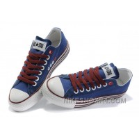 All Star Blue Red CONVERSE Multi Lines Tops Canvas Shoes Online Ijb4y