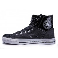Black All Star CONVERSE Double Buckles Chuck Taylor Shiny Leather Canvas High Tops Sneakers Discount SFntm