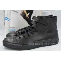 All Star Full Black Leather CONVERSE Double Velcro Chuck Taylor High Shoes Discount Es56A
