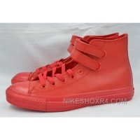 Pure Red Leather CONVERSE Double Velcro Harley CT AS High For Sale S8FAT