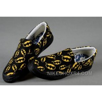 Black CONVERSE Slip On Yellow Batman Logo Print All Star Canvas Trainers 2017 New