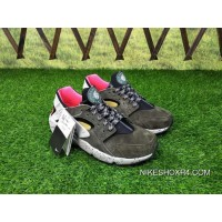 Men Shoes Nike Air Huarache Run Premium 1 Retro All-match Jogging Shoes Moss Green Brown And Pink 704830-010 New Style