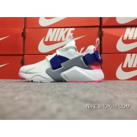 Nike Huarache 5 Air City Low White Blue Pink Velcro AH6804-101 May Be Substituted Free Shipping