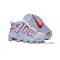 Cheap Women Nike Air More Uptempo Pippen White Red For Girls Online MrjrK