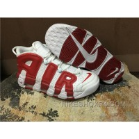 Men Nike Air More Uptempo White Red Top MnDXJ