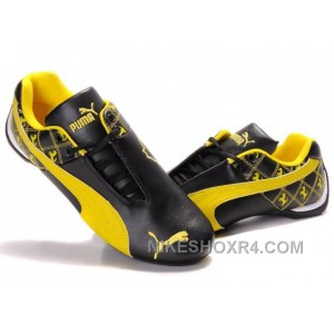 Mens Puma Future Cat Ferrari Patterns Black Yellow Hot
