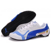 Men's Puma Future Cat Low In White/Blue Free Shipping