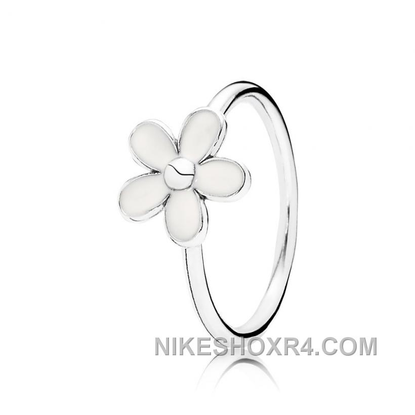 Pandora Darling Daisy, White Enamel Ring Authentic