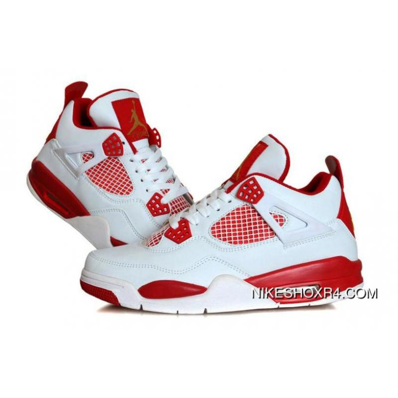 a5af397f9d6 Mens Melo 136828-138 Air Jordan 4 Retro White Red Gold New Year ...