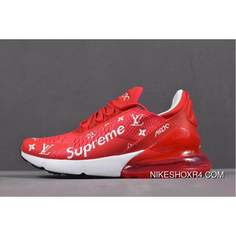 deac3db83b3 USD  105.56  263.90. Supreme X Nike Air Max 270 Red White Men s And Women s  Size Running Shoes ...