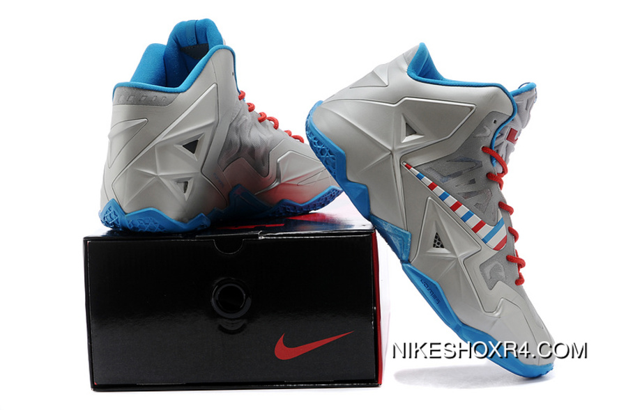 timeless design b4532 0f0a5 Nike LeBron 11 Barber Metallic Silver White-Turquoise Blue-Laser Crimson  Top Deals